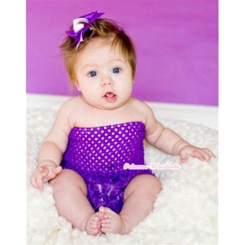 Dark Purple Big Bow Dark Purple Rose Panties Bloomers with Dark Purple Crochet Tube Top and Dark Light Purple Ribbon Bow 3PC Set CT499