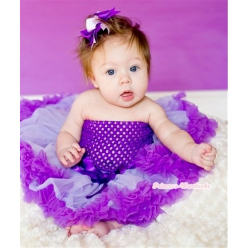 Lavender Dark Purple Baby Pettiskirt,Dark Purple Crochet Tube Top,Dark Light Puple Ribbon Bow 3PC Set CT501