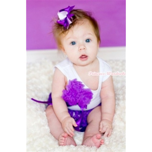 Dark Purple Big Bow Dark Purple Rose Panties Bloomers with Matching White Tank Top with Bunch Of Dark Purple Rosettes & Bow With Dark Light Purple Ribbon Bow 3PC Set LD216