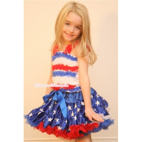 Patriotic America Flag Star Pettiskirt with Red White Royal Blue Ruffles Tank Top MR211
