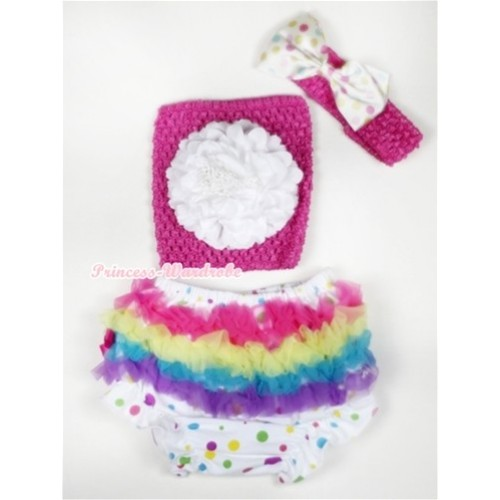Rainbow Ruffles White Rainbow Dots Panties Bloomer with White Peony Hot Pink Crochet Tube Top With Hot Pink Headband White Rainbow Satin Bow 3PC Set CT503