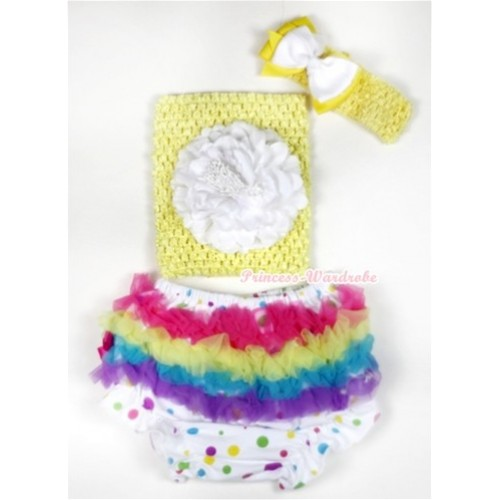 Rainbow Ruffles White Rainbow Dots Panties Bloomer with White Peony Yellow Crochet Tube Top With Yellow Headband White Yellow Ribbon Bow 3PC Set CT505