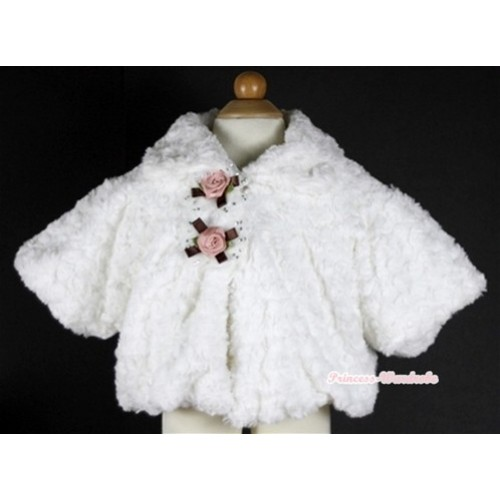 White Hairy Soft Fur with Rose Bow Shawl Coat SH35