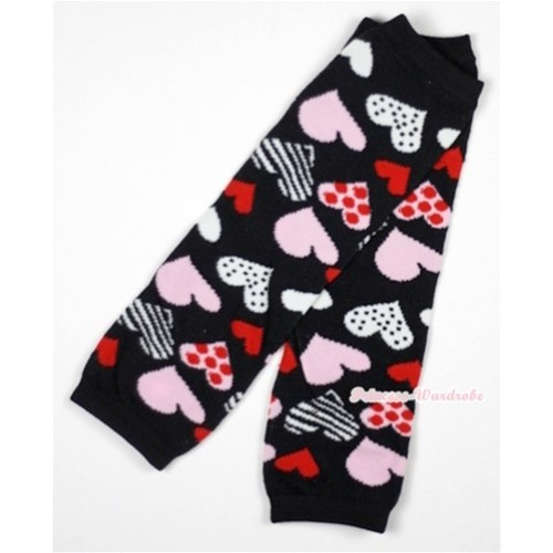 Newborn Baby Black Sweet Heart Fusion Leg Warmers Leggings LG226