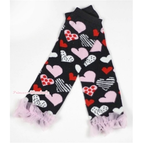 Newborn Baby Black Sweet Heart Fusion Leg Warmers Leggings With Light Pink Ruffles LG227