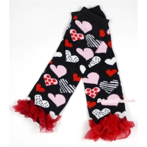 Newborn Baby Black Sweet Heart Fusion Leg Warmers Leggings With Red Ruffles LG228