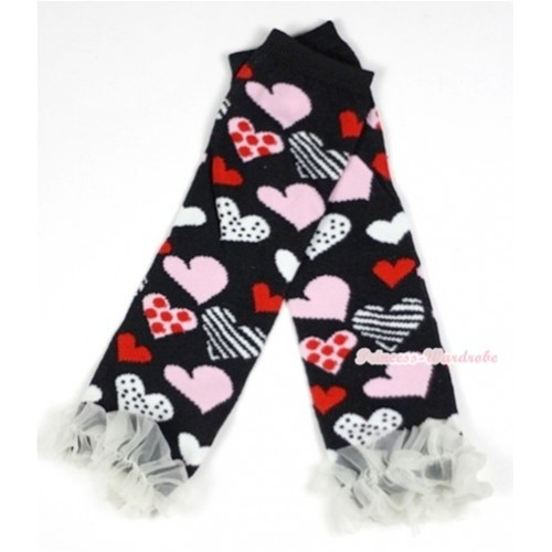 Newborn Baby Black Sweet Heart Fusion Leg Warmers Leggings With Cream White Ruffles LG229