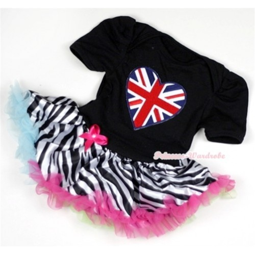 Black Baby Jumpsuit Rainbow Zebra Pettiskirt with Patriotic British Heart Print JS124