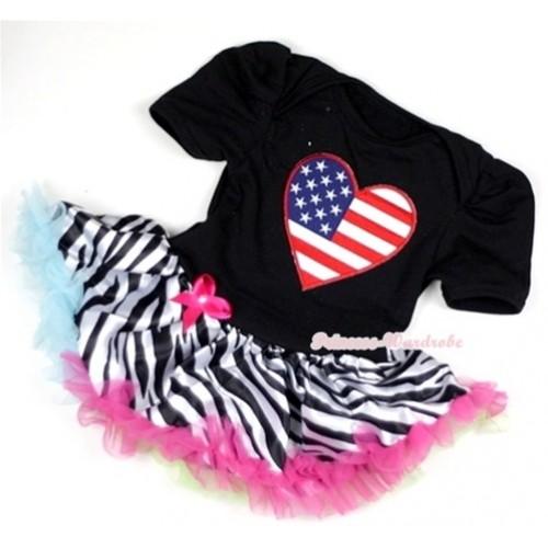 Black Baby Jumpsuit Rainbow Zebra Pettiskirt with Patriotic American Heart Print JS125
