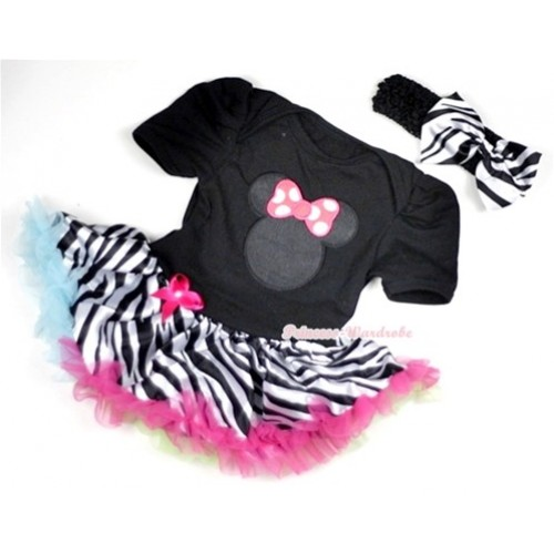 Black Baby Jumpsuit Rainbow Zebra Pettiskirt With Hot Pink Minnie Print With Black Headband Zebra Satin Bow JS133