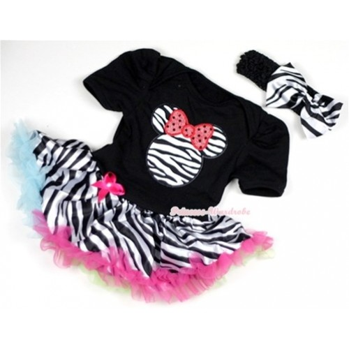 Black Baby Jumpsuit Rainbow Zebra Pettiskirt With Zebra Minnie Print With Black Headband Zebra Satin Bow JS134