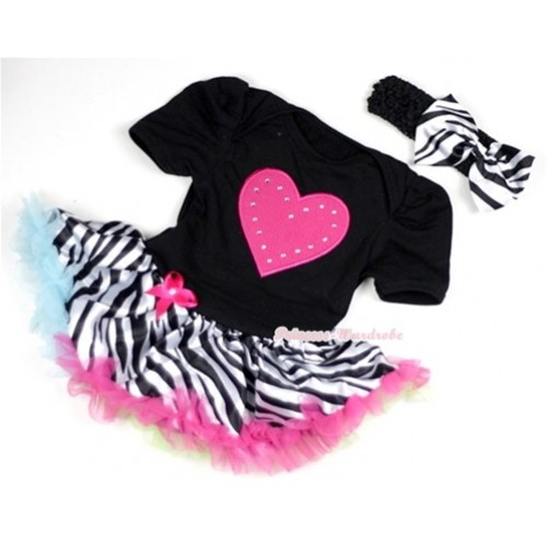 Black Baby Jumpsuit Rainbow Zebra Pettiskirt With Hot Pink Heart Print With Black Headband Zebra Satin Bow JS135