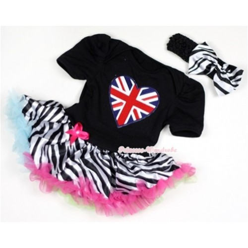 Black Baby Jumpsuit Rainbow Zebra Pettiskirt With Patriotic British Heart Print With Black Headband Zebra Satin Bow JS140