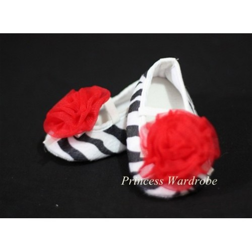 Baby Zebra Crib Shoes with Hot Red Rosettes S05