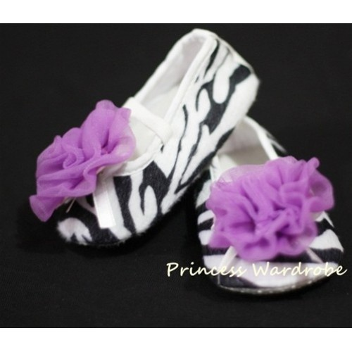 Baby Zebra Crib Shoes with Dark Purple Rosettes S07