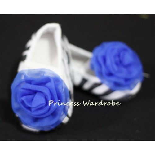 Baby Zebra Crib Shoes with Royal Blue Rosettes S09