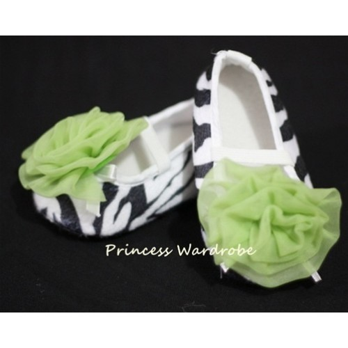 Baby Zebra Crib Shoes with Lime Green Rosettes S10