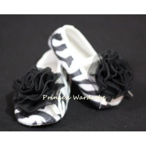 Baby Zebra Crib Shoes with Black Rosettes S11