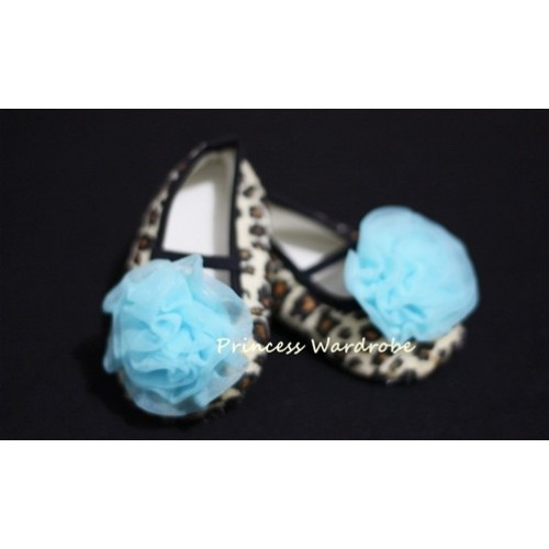 Baby Leopard Crib Shoes with Light Blue Rosettes S13