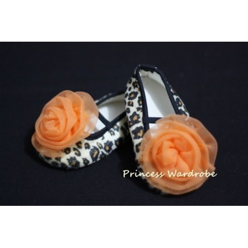 Baby Leopard Crib Shoes with Orange Rosettes S14