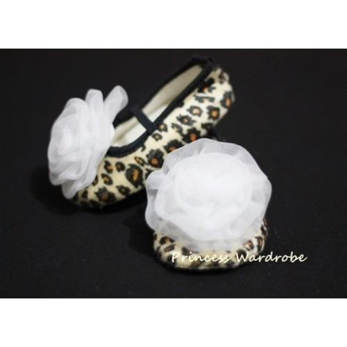 Baby Leopard Crib Shoes with Pure White Rosettes  S15