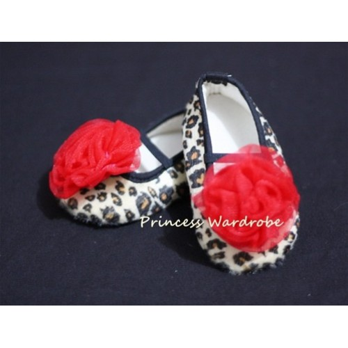 Baby Leopard Crib Shoes with Hot Red Rosettes S16