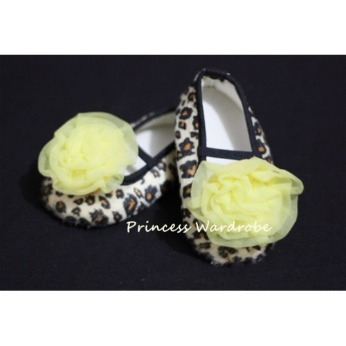 Baby Leopard Crib Shoes with Yellow Rosettes S17