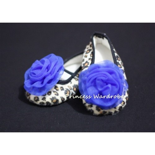 Baby Leopard Crib Shoes with Royal Blue Rosettes S20