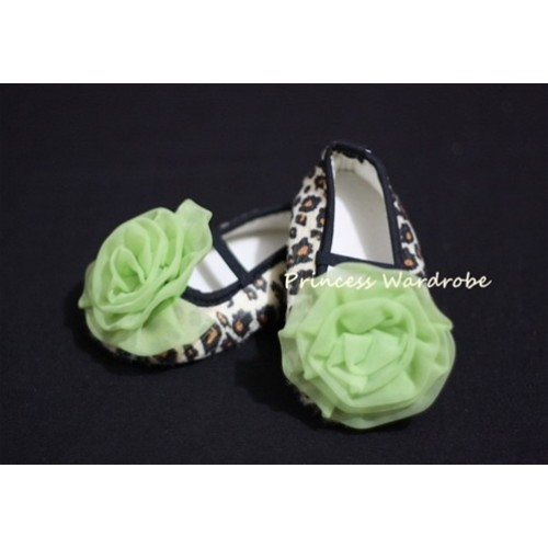 Baby Leopard Crib Shoes with Lime Green Rosettes S21