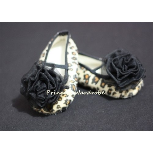Baby Leopard Crib Shoes with Black Rosettes S22