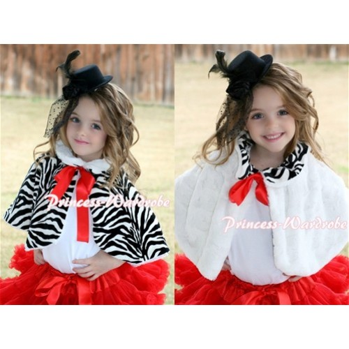 Black White Zebra Reversible Shawl Coat with Red Ribbon