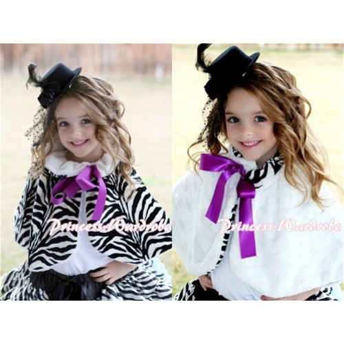 Black White Zebra Reversible Shawl Coat with Dark Purple Ribbon SH06