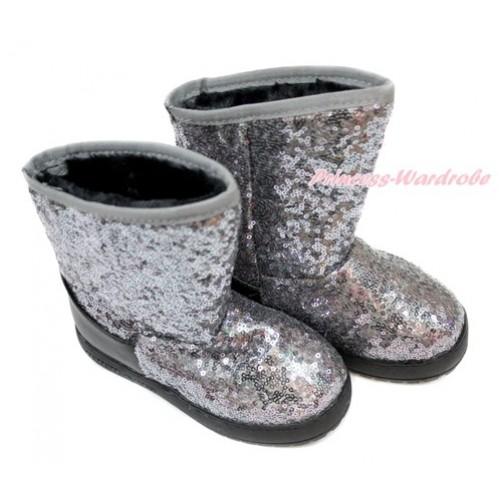 Grey Sparkle Sequins Posh Children Boots B-6Grey