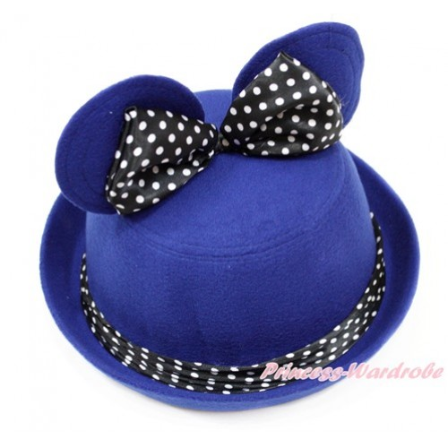 Royal Blue Minnie Ear with Black White Dots Bow Bowler Hat H795