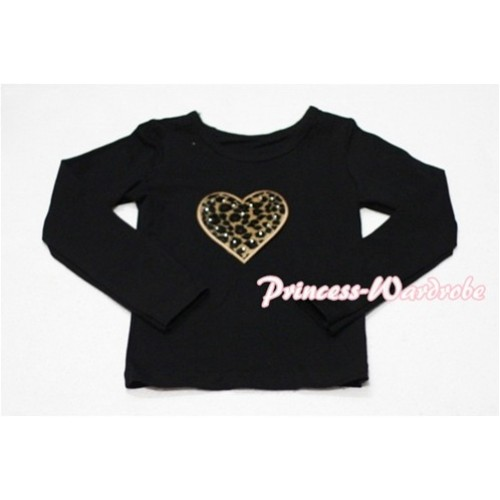Leopard Sweet Heart Black Long Sleeves Top TW114