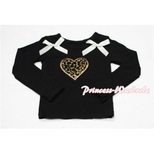 Leopard Sweet Heart Black Long Sleeves Top with Cream White Ribbon TW116