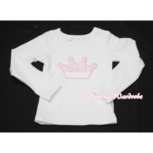 Cute Pink Crown White Long Sleeves Top TW119