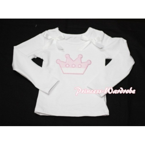 Cute Pink Crown White Long Sleeves Top with White Ribbon