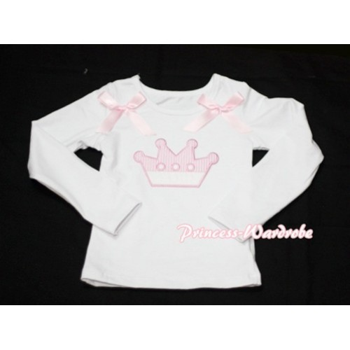 Cute Pink Crown White Long Sleeves Top with Light Pink Ribbon