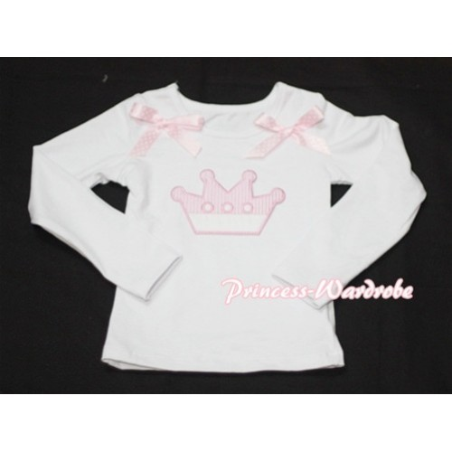 Cute Pink Crown White Long Sleeves Top with Light Pink Dot Ribbon TW123