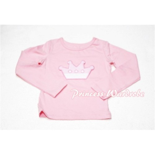 Cute Pink Crown Pink Long Sleeves Top TW124