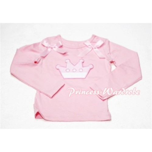 Cute Pink Crown Pink Long Sleeves Top with Light Pink Ribbon TW126
