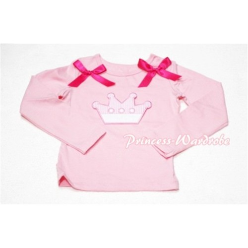Cute Pink Crown Pink Long Sleeves Top with Hot Pink Ribbon TW127