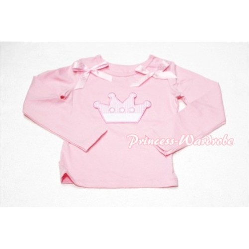 Cute Pink Crown Pink Long Sleeves Top with Light Pink Dot Ribbon TW128