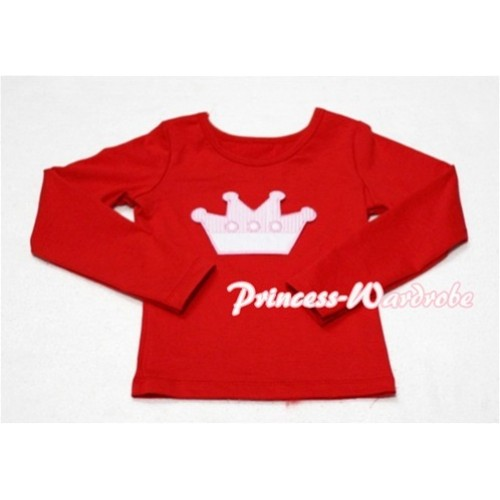 Cute Pink Crown Red Long Sleeves Top TW129