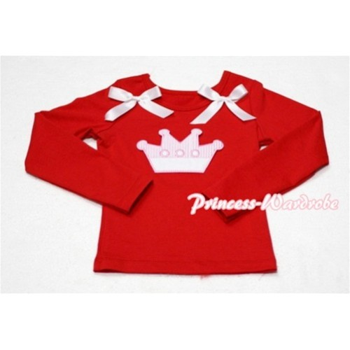Cute Pink Crown Red Long Sleeves Top with White Ribbon TW130