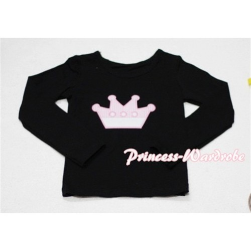 Cute Pink Crown Black Long Sleeves Top TW134