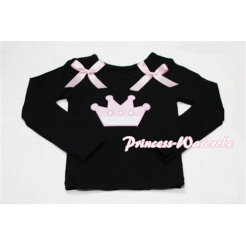 Cute Pink Crown Black Long Sleeves Top with Light Pink Ribbon TW135