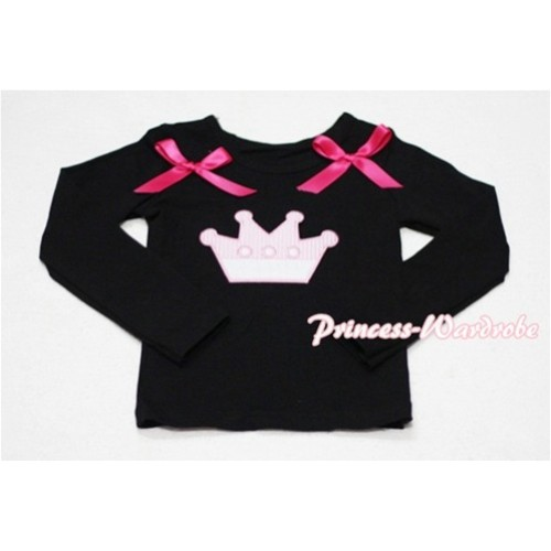 Cute Pink Crown Black Long Sleeves Top with Hot Pink Ribbon TW136