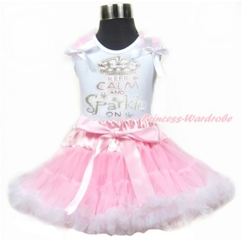 White Tank Top With Light Pink Ruffles & White Bows With Sparkle Crystal Bling Rhinestone Keep Calm And Sparkle On Print & Light Pink White Pettiskirt MG907